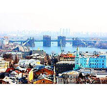 Kiev bussines and industry city landscape on river, bringe, and buildings Photographic Print
