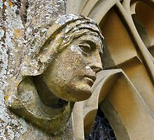 Carved head, Adlestrop Church, Gloucestershire, UK by buttonpresser