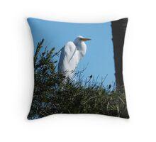 White City Egret Throw Pillow