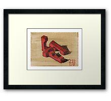 Red Blocks Framed Print
