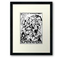 HANNA-BARBERA SUPER HEROES BLACK AND WHITE Framed Print