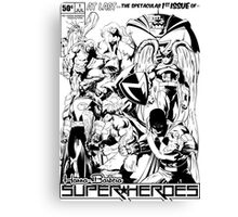HANNA-BARBERA SUPER HEROES BLACK AND WHITE Canvas Print