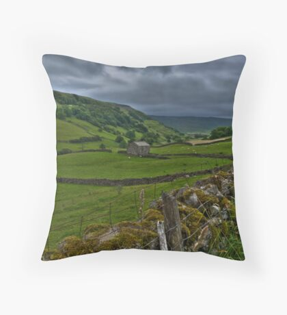 Swaledale under a threatening sky Throw Pillow