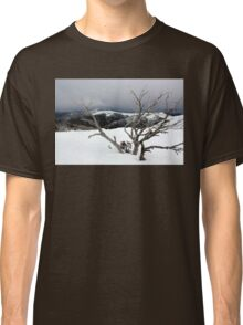 A snowstorm on a mountainside in Australia Classic T-Shirt