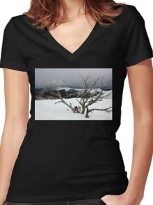 A snowstorm on a mountainside in Australia Women's Fitted V-Neck T-Shirt