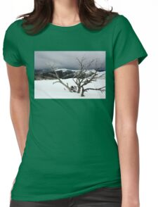 A snowstorm on a mountainside in Australia Womens Fitted T-Shirt
