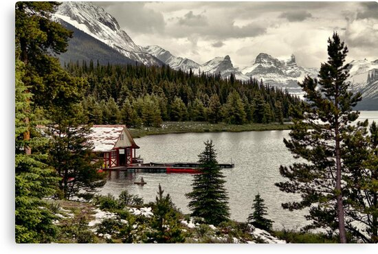 Maligne Lake Boat Shed by Vickie Emms