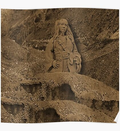 DEPLICTION OF...Jack Sparrow (Johnny Depp) from Pirates of the Caribbean sand sculpture .JOURNAL-.PILLOW--TOTEBAG--PICTURE - PRINTS- POSTERS ECT.. Poster