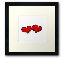 Sweet 2 red hearts in love Framed Print