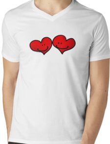 Sweet 2 red hearts in love Mens V-Neck T-Shirt