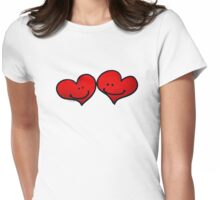 Sweet 2 red hearts in love Womens Fitted T-Shirt