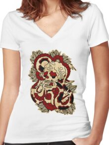 Skull & Snake Women's Fitted V-Neck T-Shirt