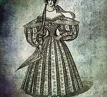 FASHIONABLE LADIES WALKING DRESS WITH UMBRELLA 1835 by Tammera