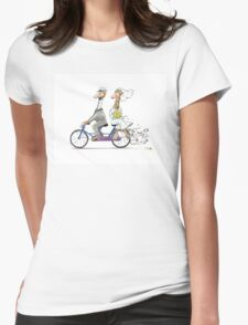 Wedding giraffes on bicycle Womens Fitted T-Shirt