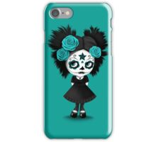 Shy Big Eyes Day of the Dead Girl with Blue Roses iPhone Case/Skin