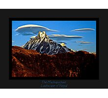 The Machapucharé and lenticular clouds Photographic Print