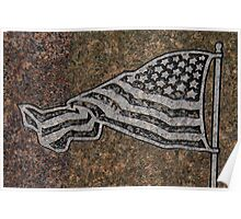 An engraved flag on a tombstone Poster