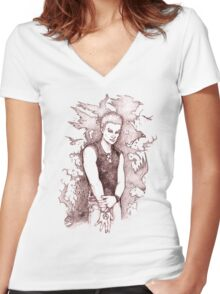 Punk Spike Women's Fitted V-Neck T-Shirt