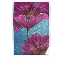Pink Poppies on Blue Background Poster