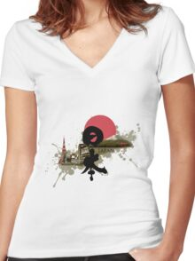 Nippon - Modern and Traditional Japan Montage Women's Fitted V-Neck T-Shirt