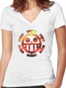 One Piece - Heart Pirates Women's Fitted V-Neck T-Shirt