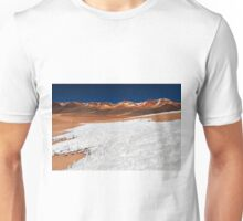 ice and snow structures in front of The Mountain of Seven Colors Unisex T-Shirt