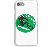 Cyclist Riding Bicycle Cycling Circle Woodcut iPhone Case/Skin
