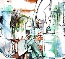 Organic Forms Mixed Media Painting by QuinFeather