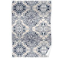 Brush and Ink Watercolor Pattern in Indigo and Cream Poster
