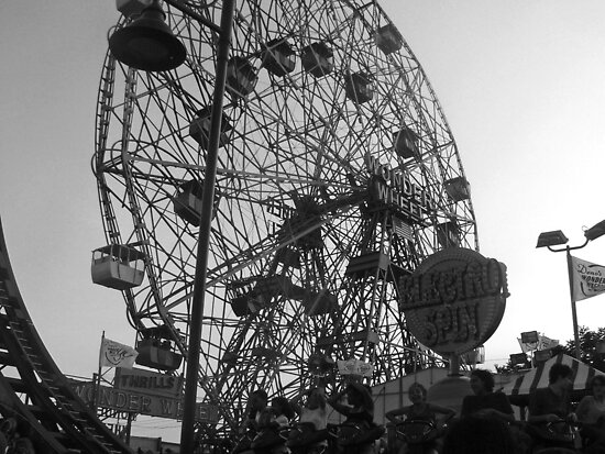 Wonder Wheel #2 B&W by Bernadette Claffey