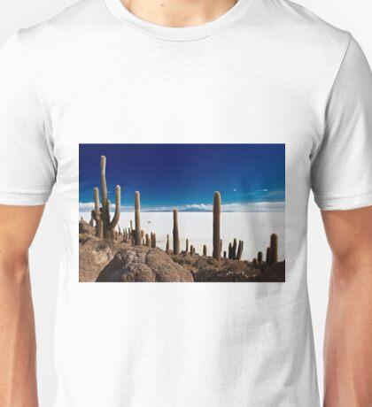 gigantic cacti on Incahuasi Island,  Salar de Uyuni Unisex T-Shirt