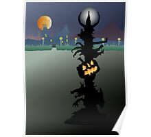 Spooky Halloween lamp in a surreal landscape. Poster