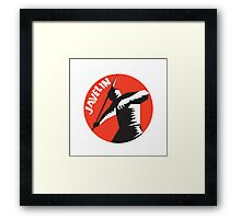 Javelin Throw Track and Field Athlete Circle Woodcut Framed Print