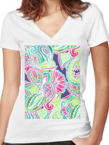 Bright Boho paisley pink blue green watercolor Women's Fitted V-Neck T-Shirt