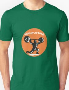 Weightlifter Lifting Weights Oval Woodcut T-Shirt