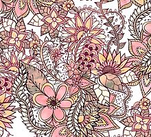 Boho chic red brown floral handdrawn pattern by GirlyTrend