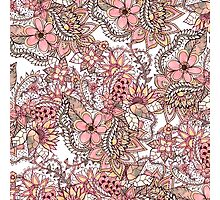 Boho chic red brown floral handdrawn pattern Photographic Print