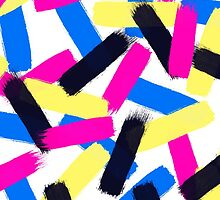 Modern bright abstract brushstrokes paint pattern by GirlyTrend