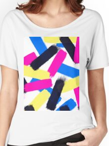 Modern bright abstract brushstrokes paint pattern Women's Relaxed Fit T-Shirt