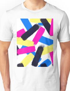 Modern bright abstract brushstrokes paint pattern Unisex T-Shirt
