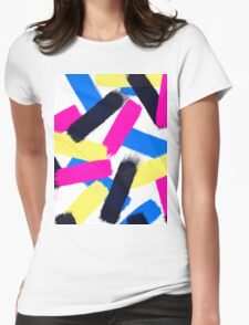 Modern bright abstract brushstrokes paint pattern Womens Fitted T-Shirt