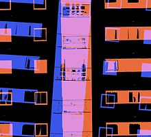 City apartment building at night by steveball