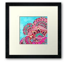 Bohemian boho red blue floral paisley pattern  Framed Print