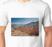 Red rock formations in the Canon Del Inca Unisex T-Shirt