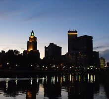 Providence Skyline at Night by endomental Artistry