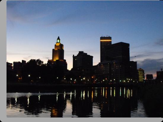 Providence Skyline at Night by iheartrhody