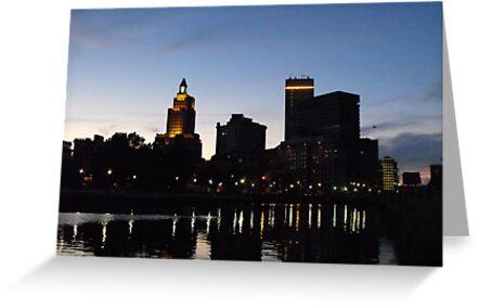 Providence Skyline at Night by Erika Smith