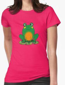 Cute green frog cartoon Womens Fitted T-Shirt