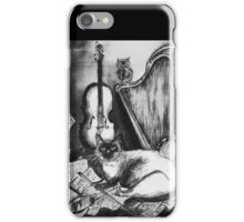 MUSICAL CAT AND OWL  Black and White iPhone Case/Skin