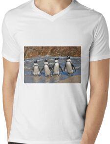 funny image of  four walking African Penguin Mens V-Neck T-Shirt